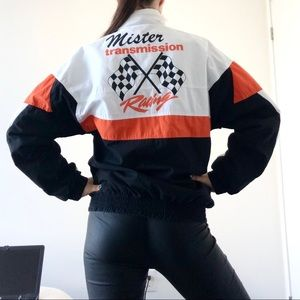 Vintage mechanic racing bomber jacket transmission